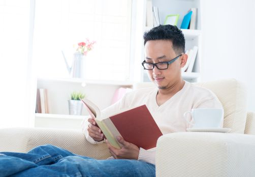 Southeast Asian male reading book sitting on sofa at home, indoor lifestyle