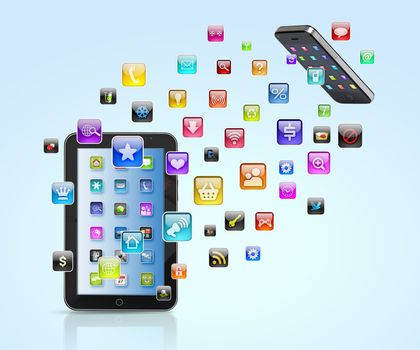 Modern communication technology illustration with mobile phone and high tech background