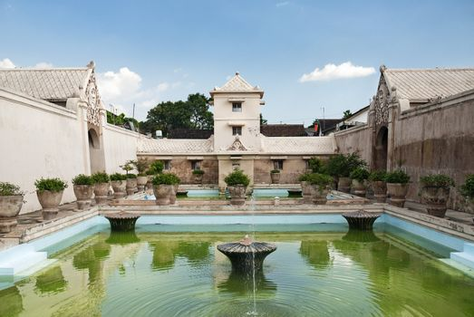 interior pond of palace in solo indonesia