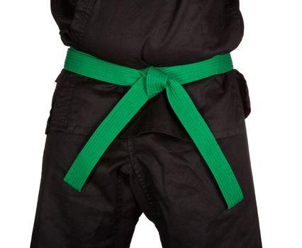 Karate Green Belt Tied Around Torso Black Uniform