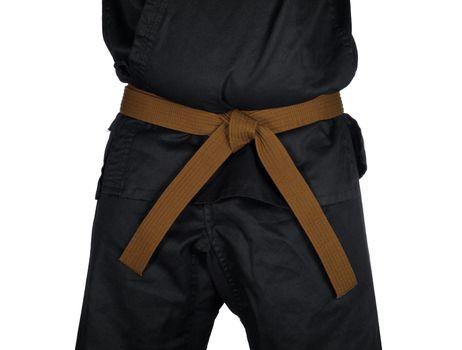 Karate Brown Belt Tied Around Torso Black Uniform