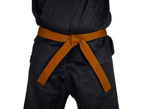 Karate Orange Belt Tied Around Torso Black Uniform