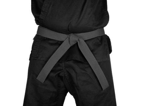 Karate Grey Belt Tied Around Torso Black Uniform