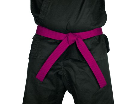 Karate Pink Belt Tied Around Torso Black Uniform