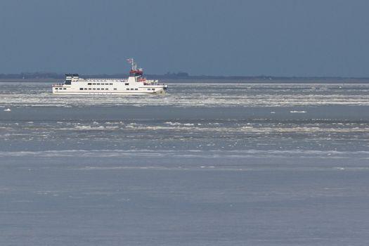 A ferry in the dutch Waddensea