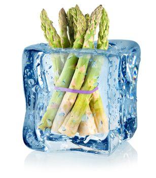 Ice cube and asparagus