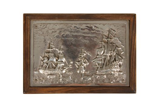 Silver engraving on a old wooden box, isolated