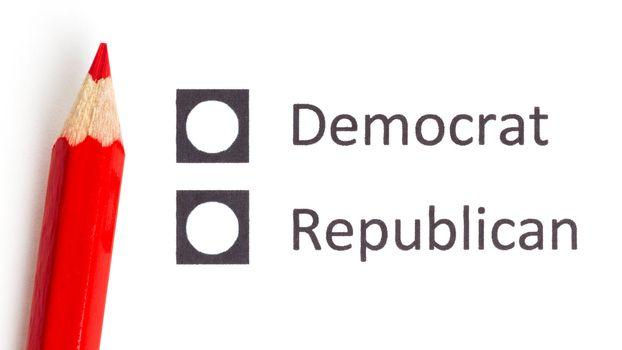 Red pencil choosing between democrat and republican