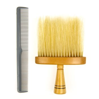 Hair brush for barber and a grey comb