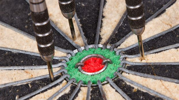 Close-up of a very old dartboard