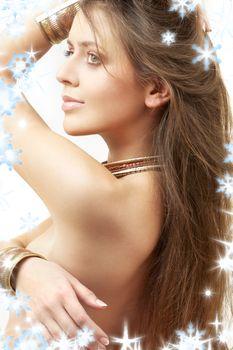 lovely girl in bronze bracelets