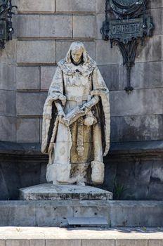 Sculpture at Monument on Placa Espana Barcelona