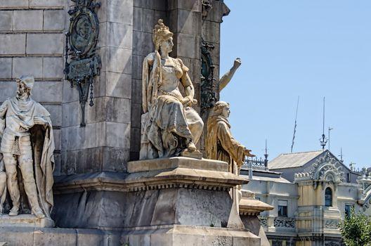 Sculpture at Monument on Placa Espana Barcelona Spain