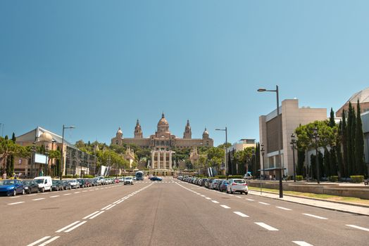 Road to National Art Museum Barcelona Spain