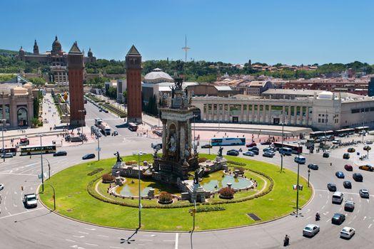 Montjuic fountain on Plaza de Espana in Barcelona