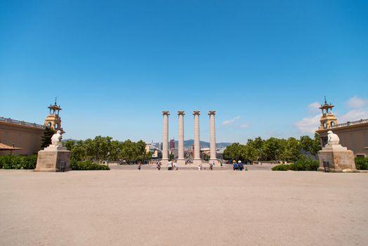 Columns at Plaza de Espana in Barcelona