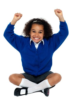 Primary school girl grinding her teeth in excitement