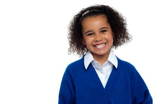 Pretty elementary school girl, curly hair