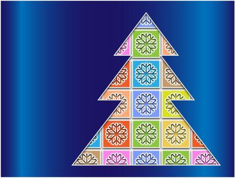 pastel snowflakes bounded contour tree