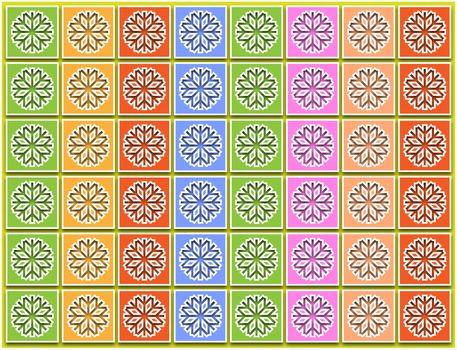 pastel snowflakes in columns