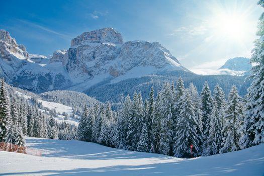 Sunny day at Val Di Fassa ski resort in Italy