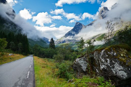 Scenic mountain road in Norway