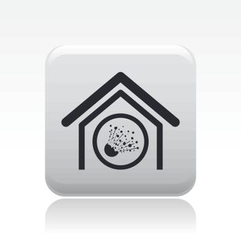 Vector illustration of  isolated explosive house icon