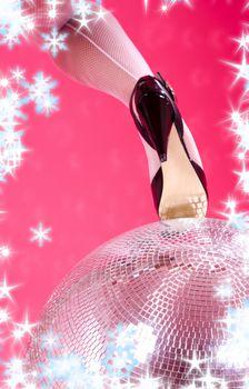 high heels and disco ball