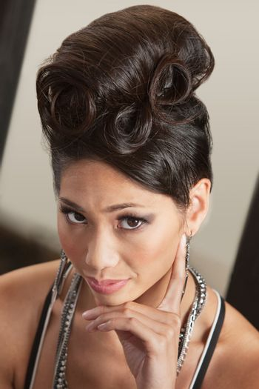 Serious Female in Retro Hairdo