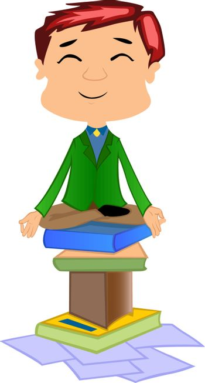 Working Man Doing Meditation on books, vector illustration