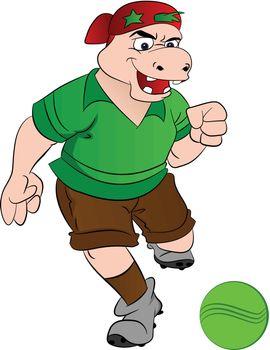 Humanoid Hippo Playing Soccer, illustration