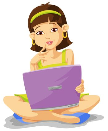 Education showing a girl using a notebook computer, vector illustration