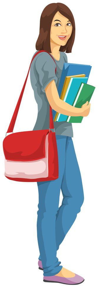 Education showing a college girl with bag and carrying notebooks and books, vector illustration