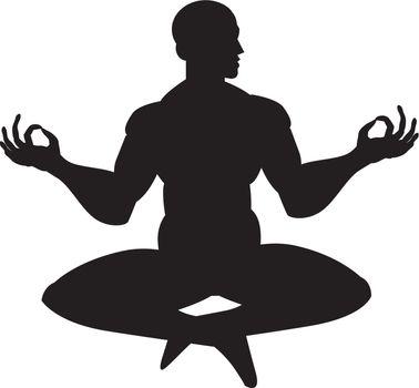 Monk in meditation, silhouette, vector illustration