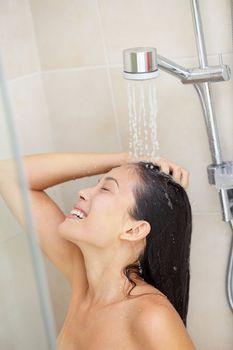 Washing hair - shower woman