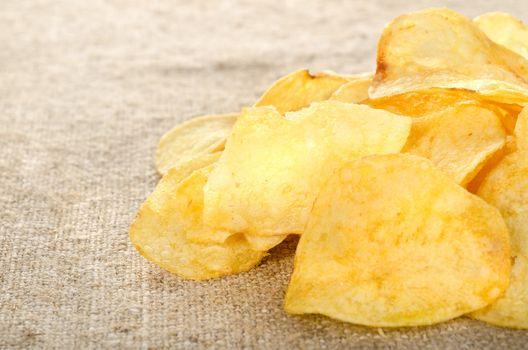 Potato chips on a canvas