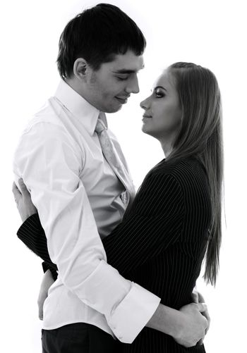 monochrome picture of happy couple in love over white