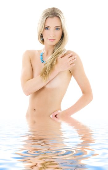 blonde in water