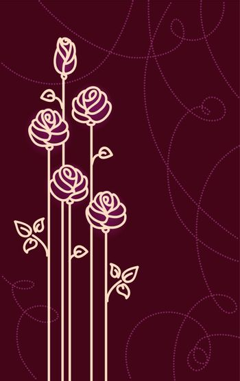 Card with Stylized Roses. Vector Graphic