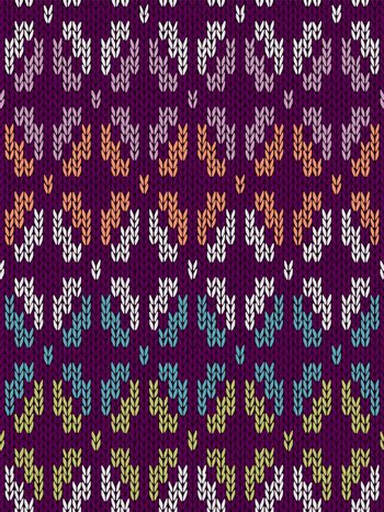 Style Seamless Knitted Pattern. White Blue Green Orange Pink Violet Color Illustration from my large Collection of Samples of knitted Fabrics