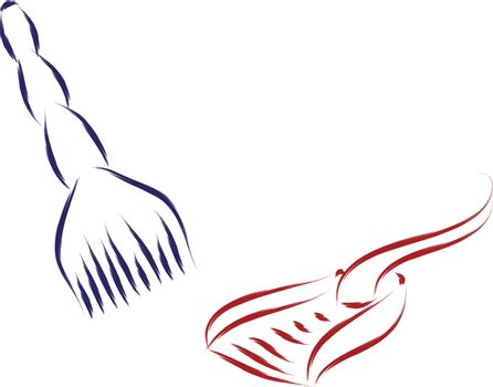 sketch of broom and shovel cleaning objects