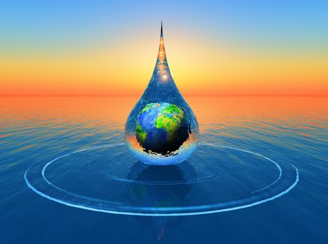 a drop of water with the planet earth inside