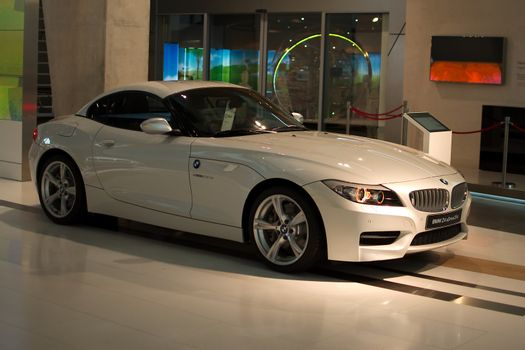 MUNICH - SEPTEMBER 19: New model BMW Z4 sDrive35is at BMW Welt Expo center on September 19, 2012 in Munich.