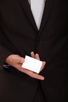 Businessman presenting his calling card