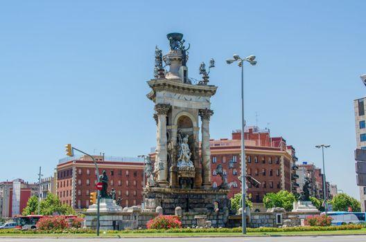 Plaza de Espana fountain Barcelona Catalonia Spain