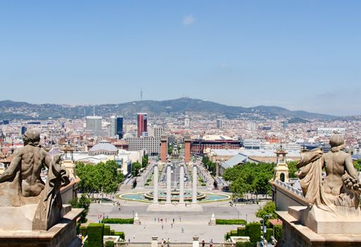 Montjuic fountain on Plaza de Espana in Barcelona Spain