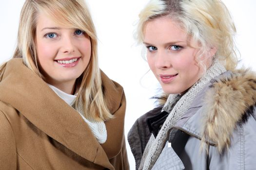 Two blonde women with shelter