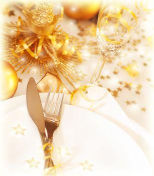 Golden table decoration