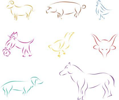 domestic animals vector sketch