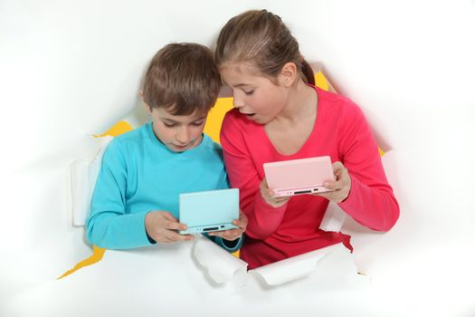 Kids with handheld computers